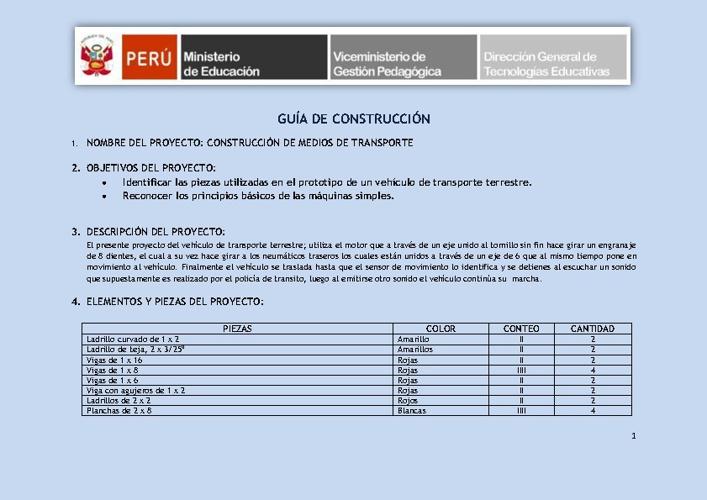 Guía de construcción, proyecto de aprend. y sesión de aprend.