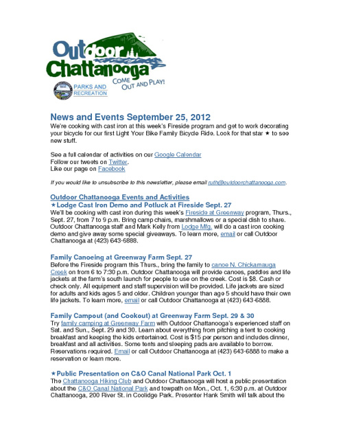 Outdoor Chattanooga News and Events Sept. 25, 2012