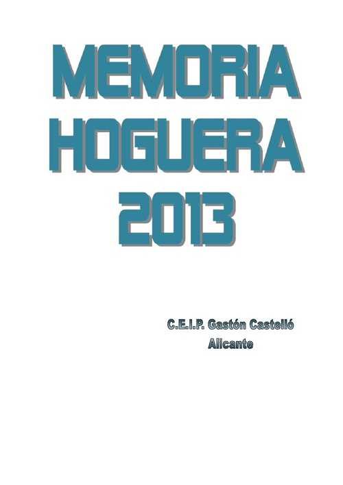 MEMORIA DE LA HOGUERA 2013