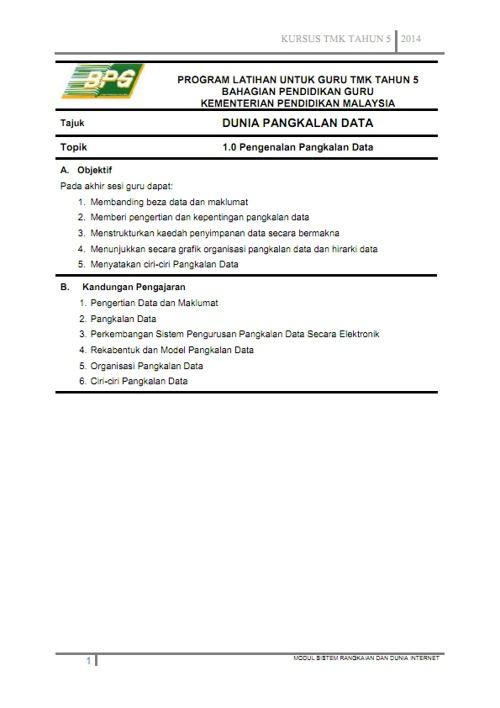 Topik 1 - Pengenalan Kepada Pangkalan Data