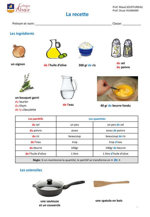 Recette de cuisine FLE