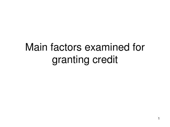 Factors for Granting Credit