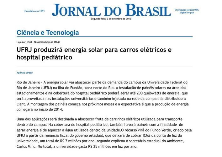 Jornal do Brasil - Ciência e Tecnologia - UFRJ produzirá energia