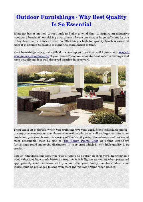 Outdoor Furnishings - Why Best Quality Is So Essential