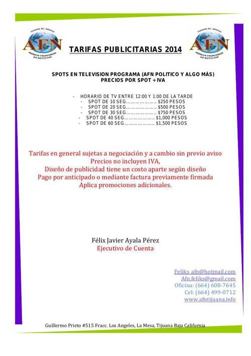 TARIFAS PUBLICITARIAS 2014  LADO B
