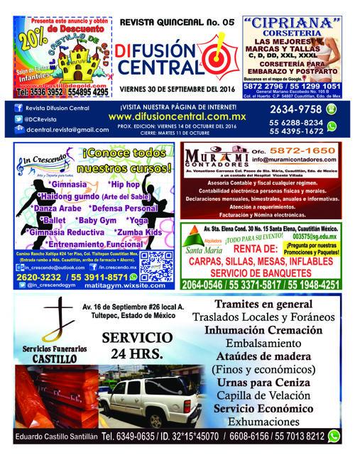 DIFUSION CENTRAL, REVISTA DIGITAL No. 05 PUBLICIDAD
