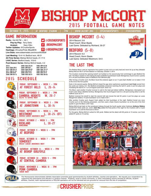 Week 6 Bishop McCort at Bedford