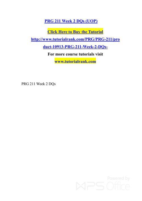 PRG 211 UOP Courses /TutorialRank