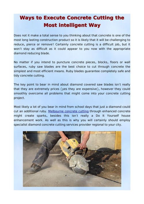 Ways to Execute Concrete Cutting the Most intelligent Way