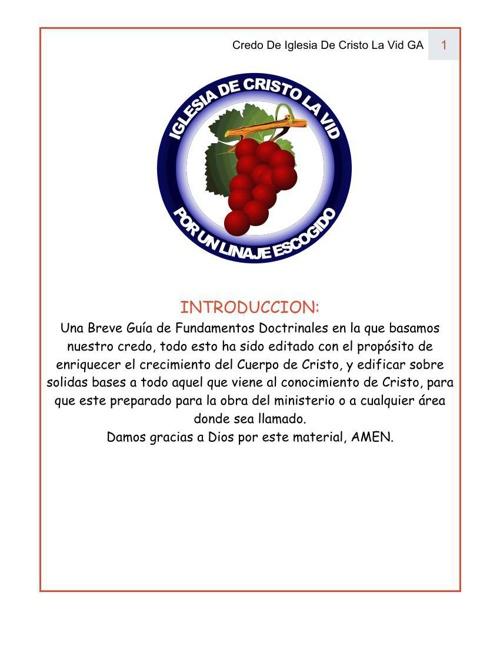 CREDO DE IGLESIA DE CRISTO LA VID. 2014)