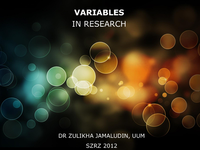 VARIABLES in RESEARCH