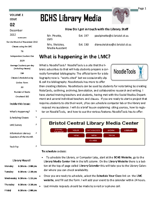 Library Media Center Newsletter