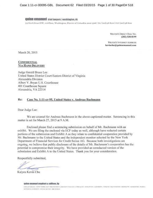 Sentencing Memorandum - Andreas Bachmann