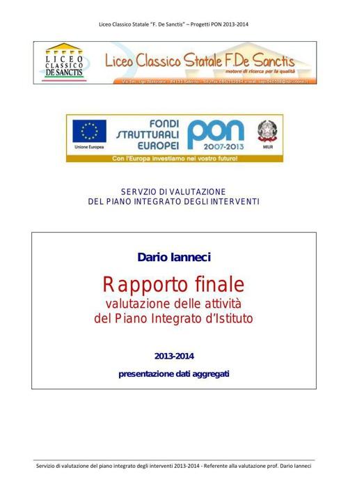 Report valutazione PON 2013-2014