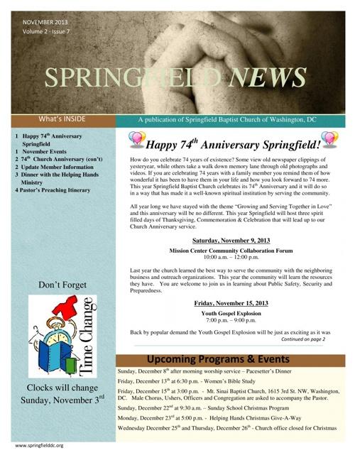 November 2013 Springfield News