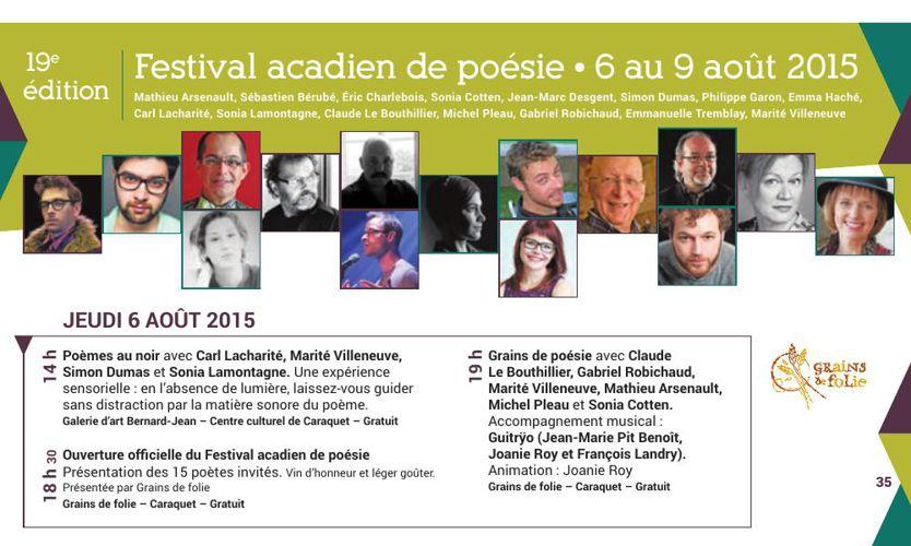 Festival acadien de poésie 2015