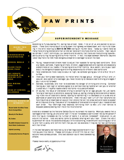 PawPrints April 2016 Edition