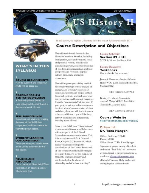 HI 112 US History II Fall2013