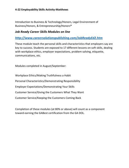 ENT Employability Skills Matthews