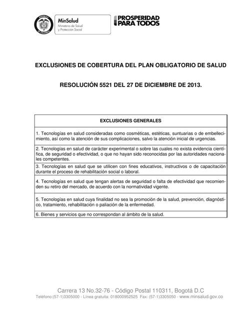 EXCLUSIONES DEL POS RESOLUCION 5521 DEL 2013 (1)