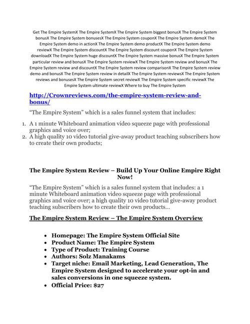 The Empire System review and The Empire System $11800 Bonus & Di