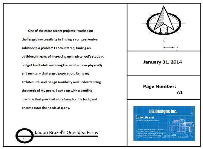 UFT - One Idea Essay - Jaidon Brazel - Jan 2014
