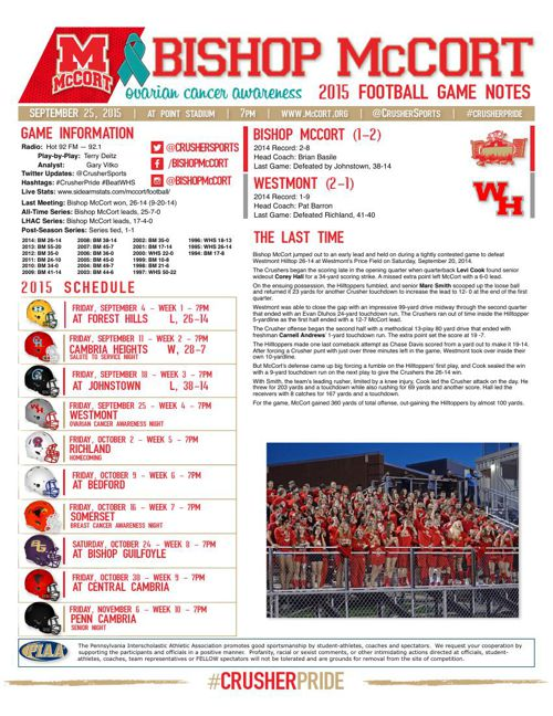 Week 4 Game Notes vs Westmont