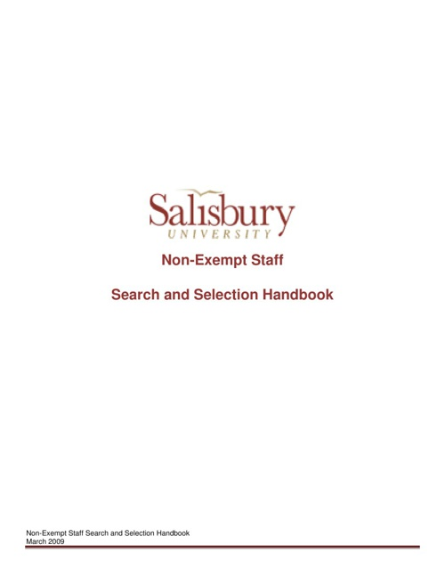 NonExempt Staff Search & Selection Handbook 3-09