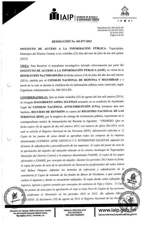 IAIP Resolución N#077-2015