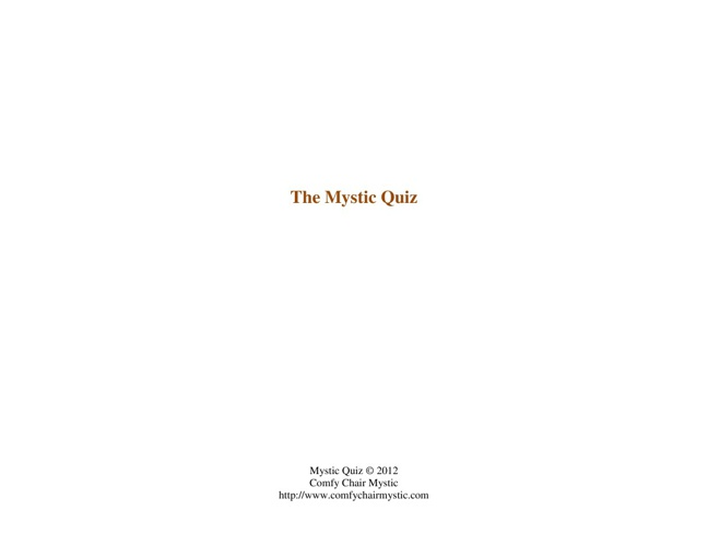 Copy of The Mystic Quiz