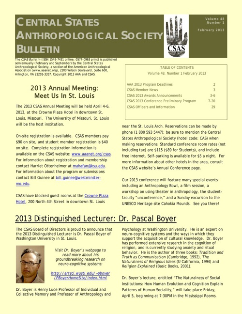 CSAS Bulletin February 2013 (Volume 48, No 1)