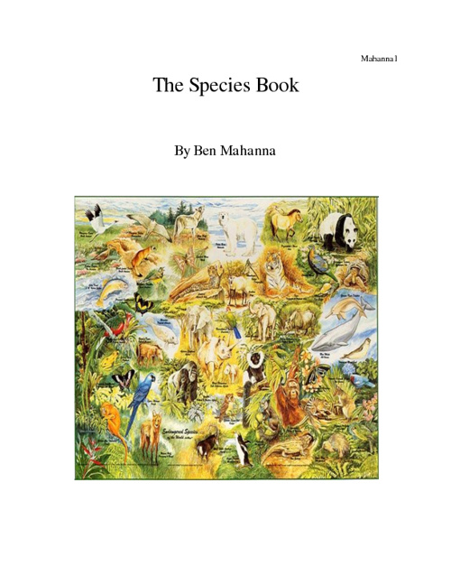 Species Book- Ben Mahanna