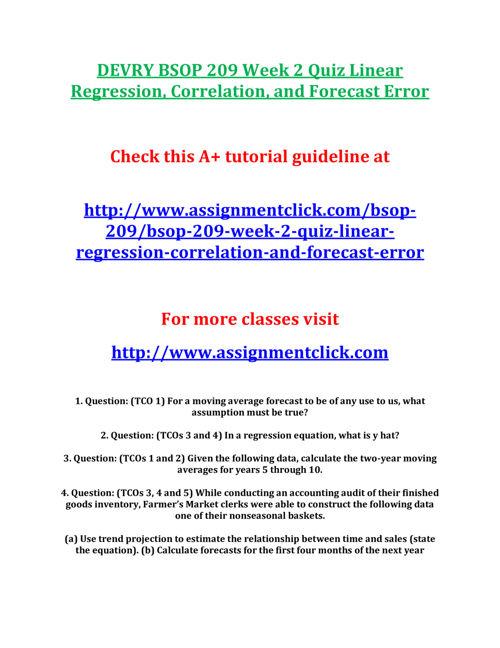 DEVRY BSOP 209 Week 2 Quiz Linear Regression