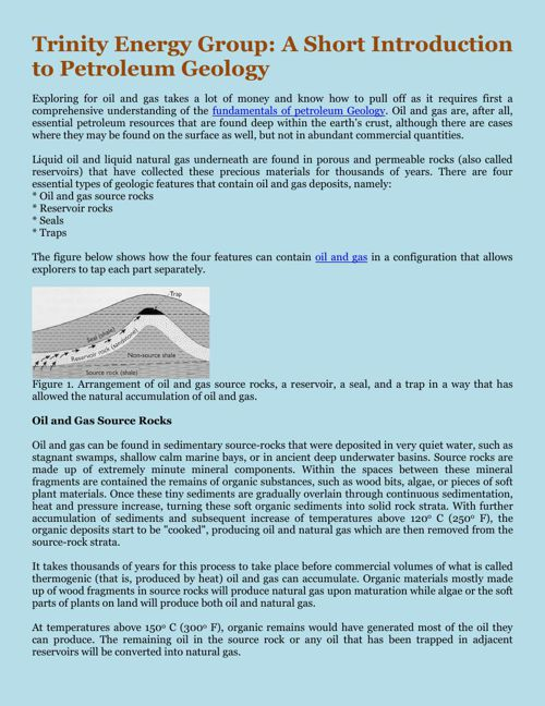 Trinity Energy Group A Short Introduction to Petroleum Geology