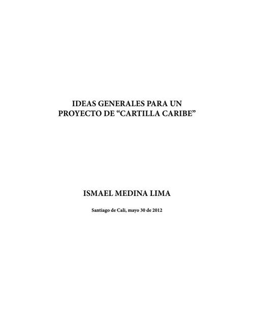 """Ideas generales para un proyecto de """"Cartilla Caribe"""""""