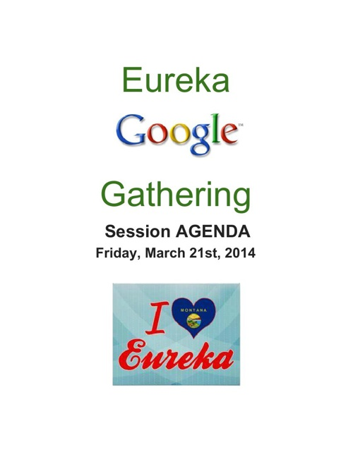 Eureka Google Gathering Session Schedule