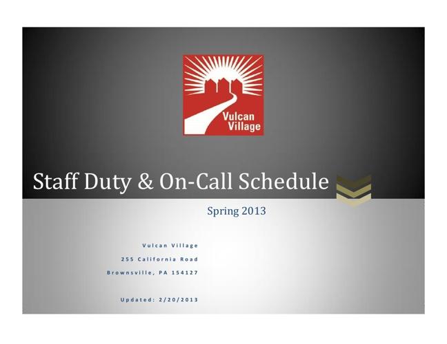 Updated Staff Schedule - Spring 2013