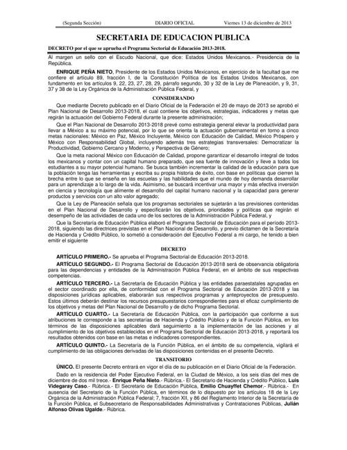 Programa Sectorial de Educación 2013 -2018