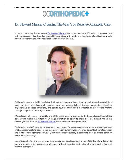Dr. Howard Marans: Changing The Way You Receive Orthopedic Care