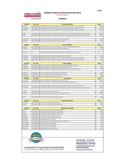 MSRP PRICE LIST - OCTOBER 2014