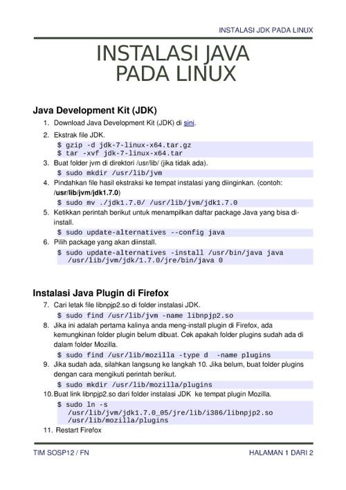 Instalasi Java di Linux