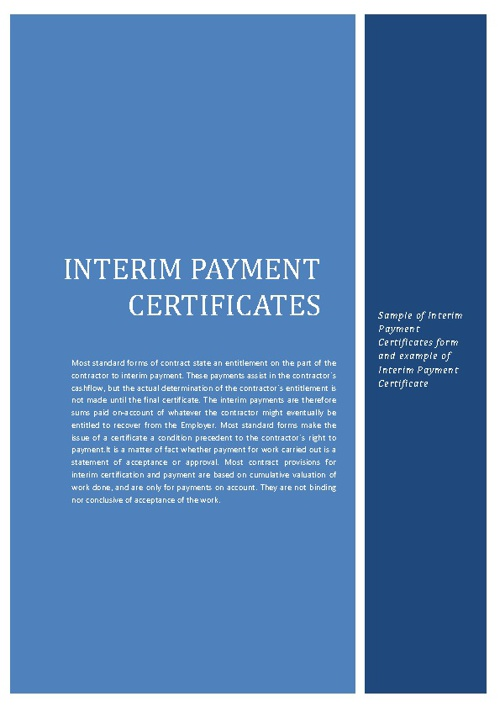 Example of Interim Payment Certificates