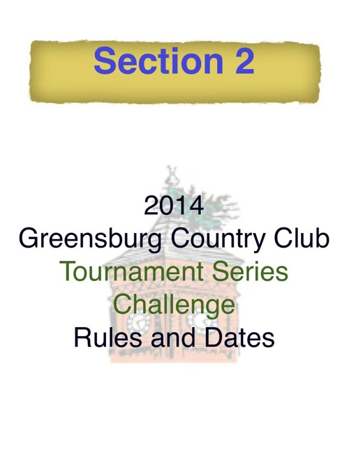 2014 Comprehensive Tournament Schedule Section 2 TSC