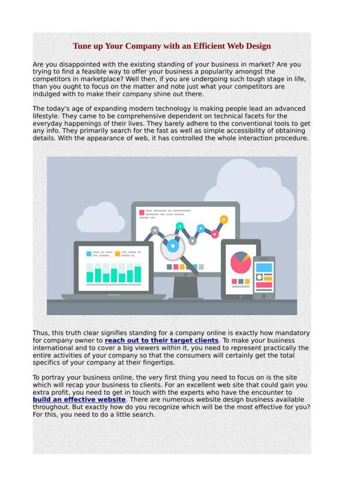 Tune up Your Company with an Efficient Web Design