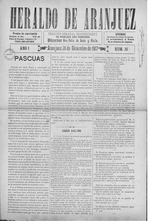 El Heraldo De Aranjuez (28/Diciembre1907)