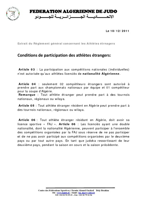 REGLEMENT DES COMPETITIONS NATIONALES
