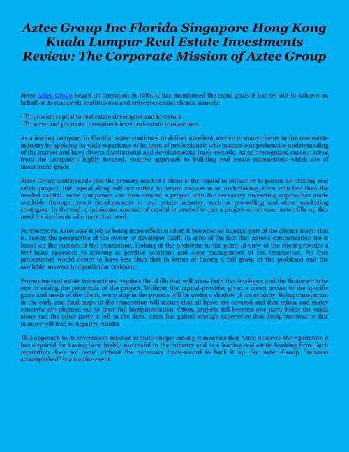 Aztec Group Inc Florida Singapore Hong Kong Kuala Lumpur Real Es