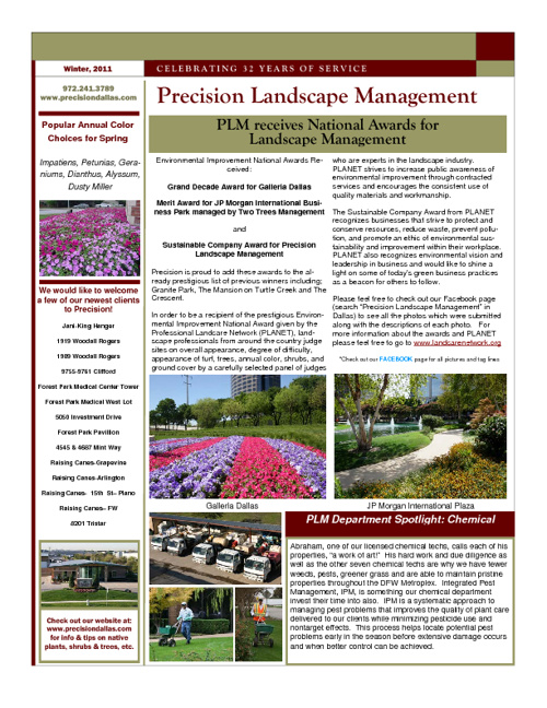 Precision Landscape Newsletters 2011