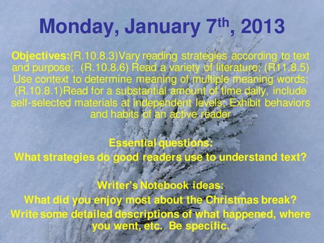 Week 19 - Jan 7-11, 2013 Powerpoint