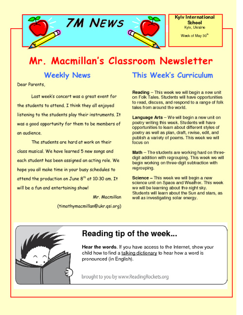 Newsletter for the Week of May 30th